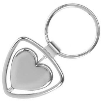 """""""L'amour"""" kulcstartó - forgó szívvel"""