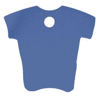 szürkéskék színű, gravírozható, póló alakú kutyabiléta